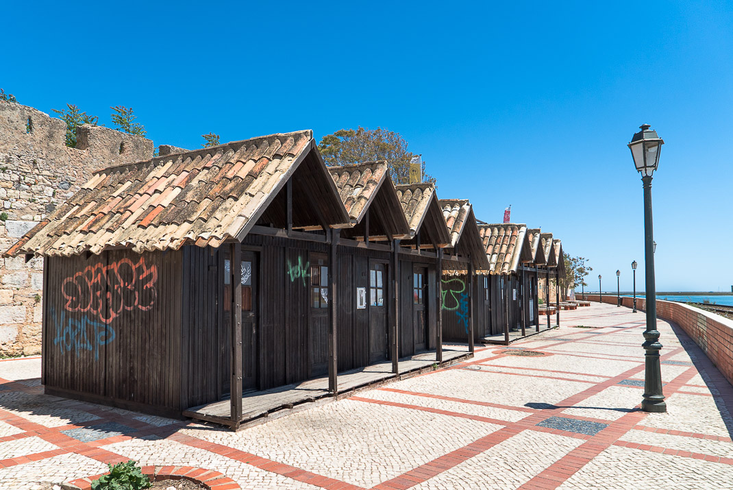 Beach huts along waterfront
