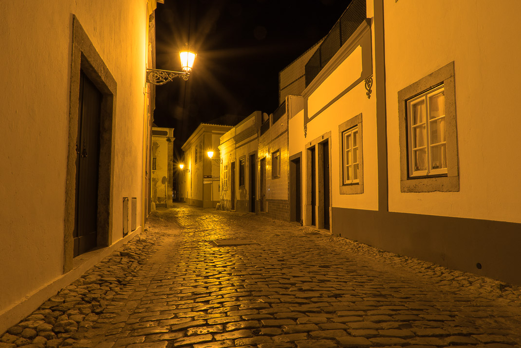 Old Faro nighttime cobblestones