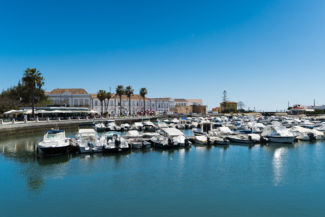 Looking across Faro Marina