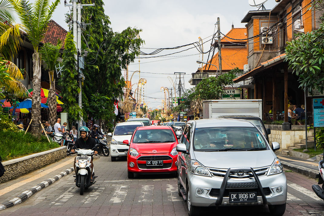 Bali Ubud Street Traffic