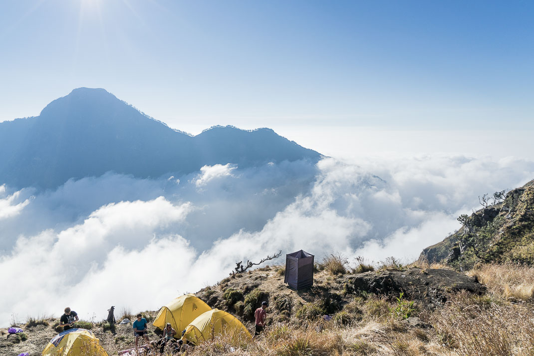 Mount Rinjani tents overlooking clouds