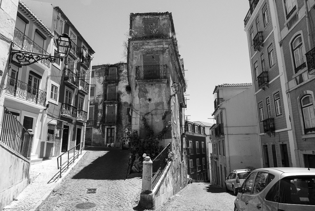 Buildings in Alfama Neighborhood BW
