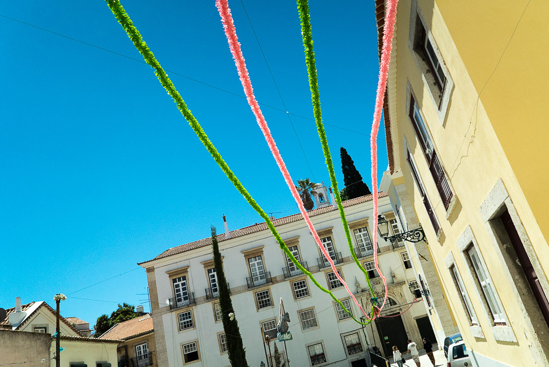 Colorful Streamers Overhead in Alfama