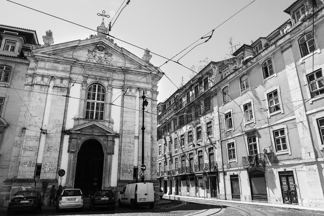 Lisbon Baixa Old Church BW