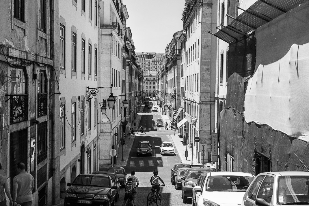 Lisbon Baixa Long Street BW