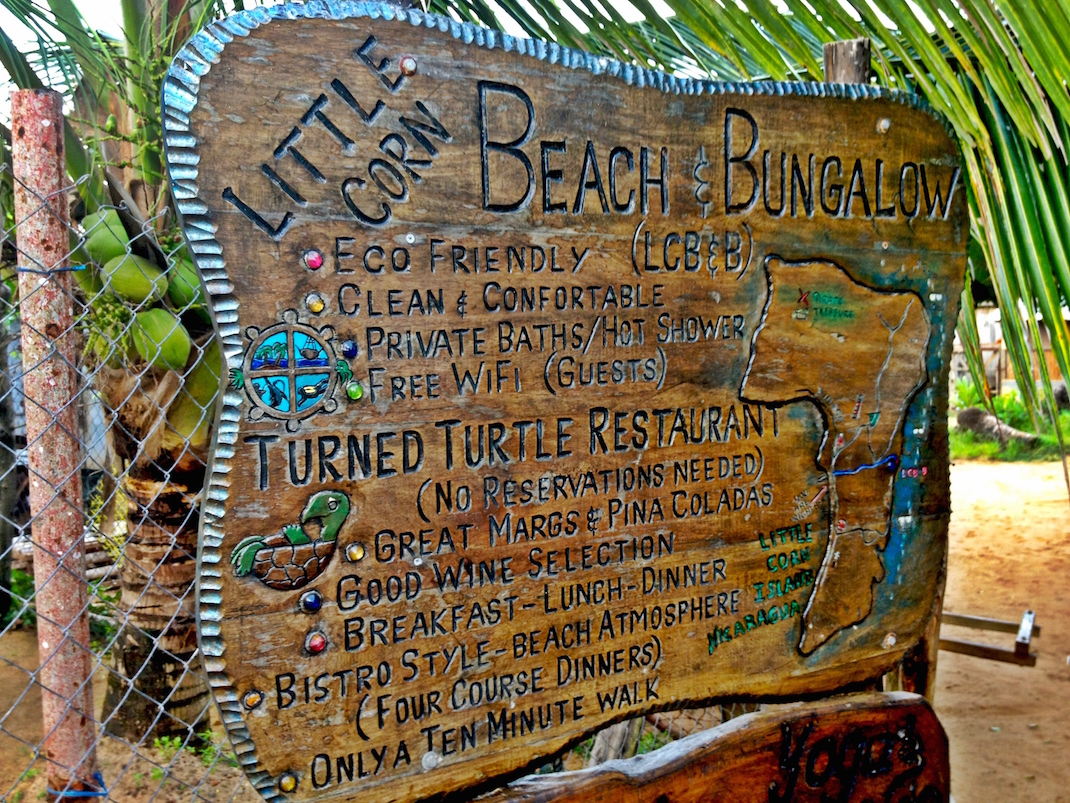 Little Corn Beach Bungalow Sign