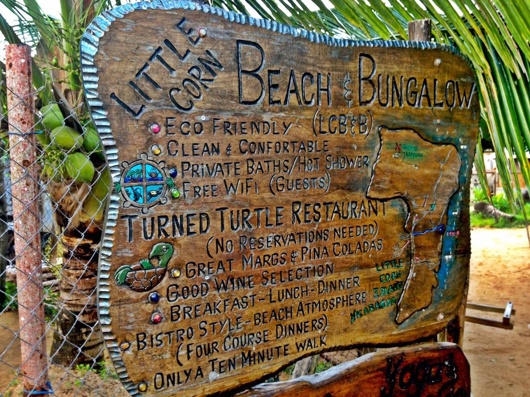 Little Corn Beach Bungalow Sign