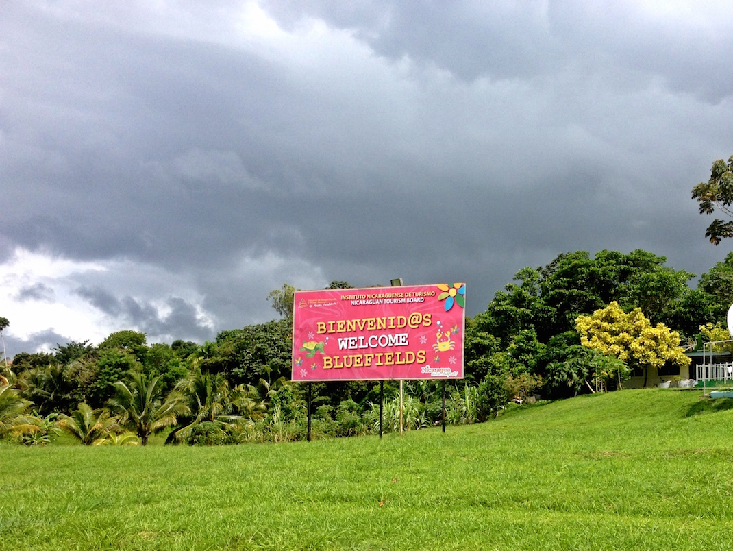 Bluefields Airport Welcome Sign