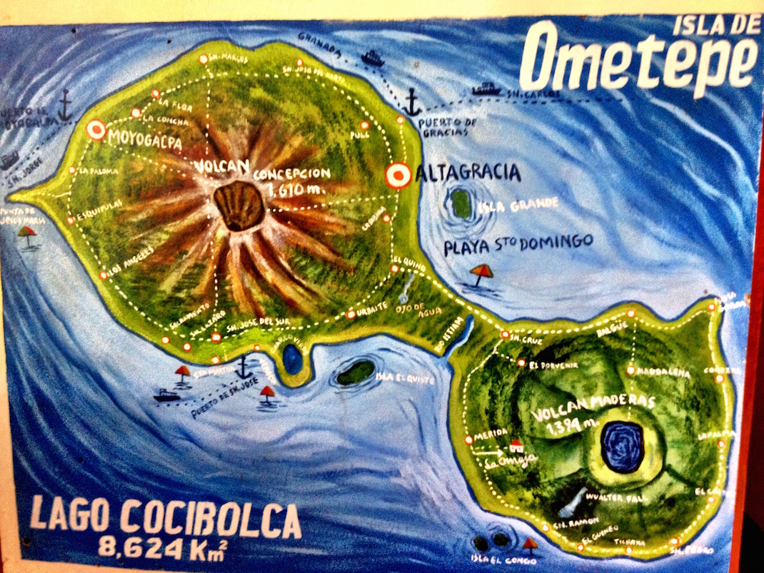 Ometepe hand drawn map