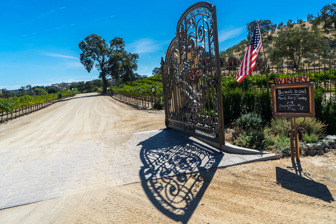 Paso Robles Winery Gated Entrance