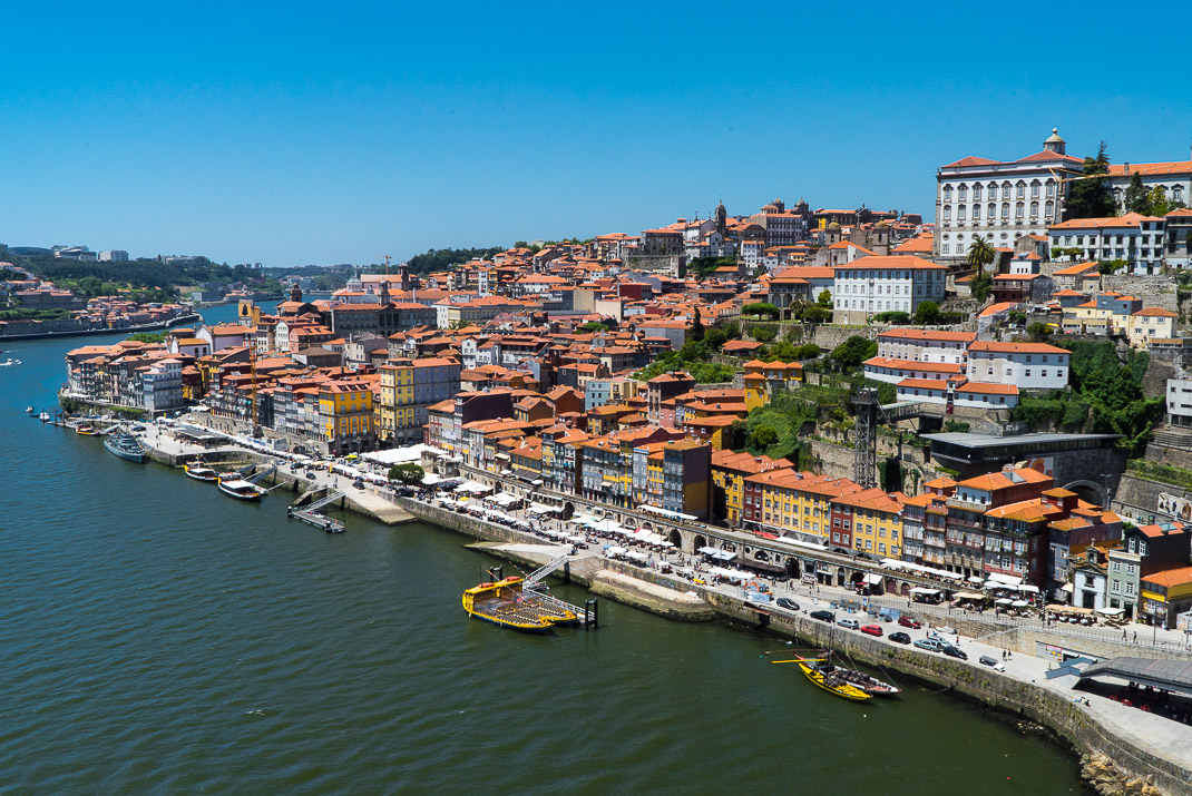 Porto city riverfront view