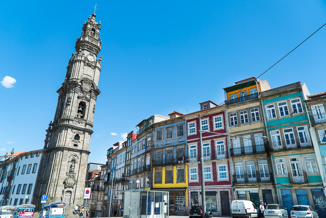 Colorful buildings along Porto street