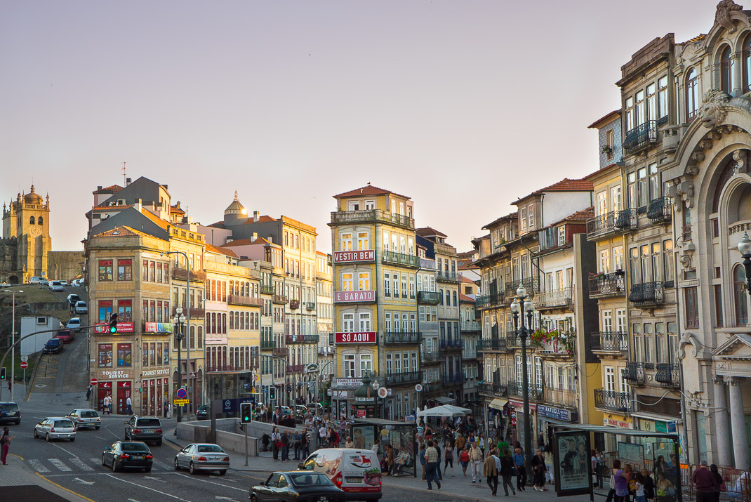 Porto buildings at sunset