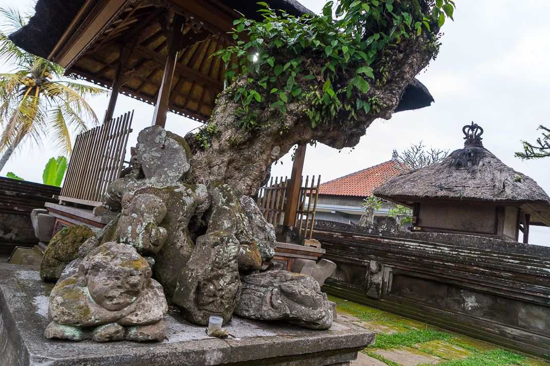 Balinese Temples Tree Between Statues