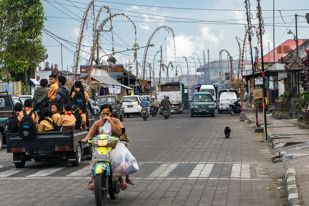Balinese Temples Busy Street