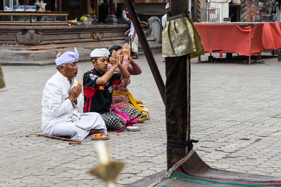 Balinese Temples Group Praying