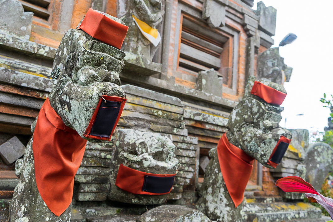 Balinese Temples Statues Covered