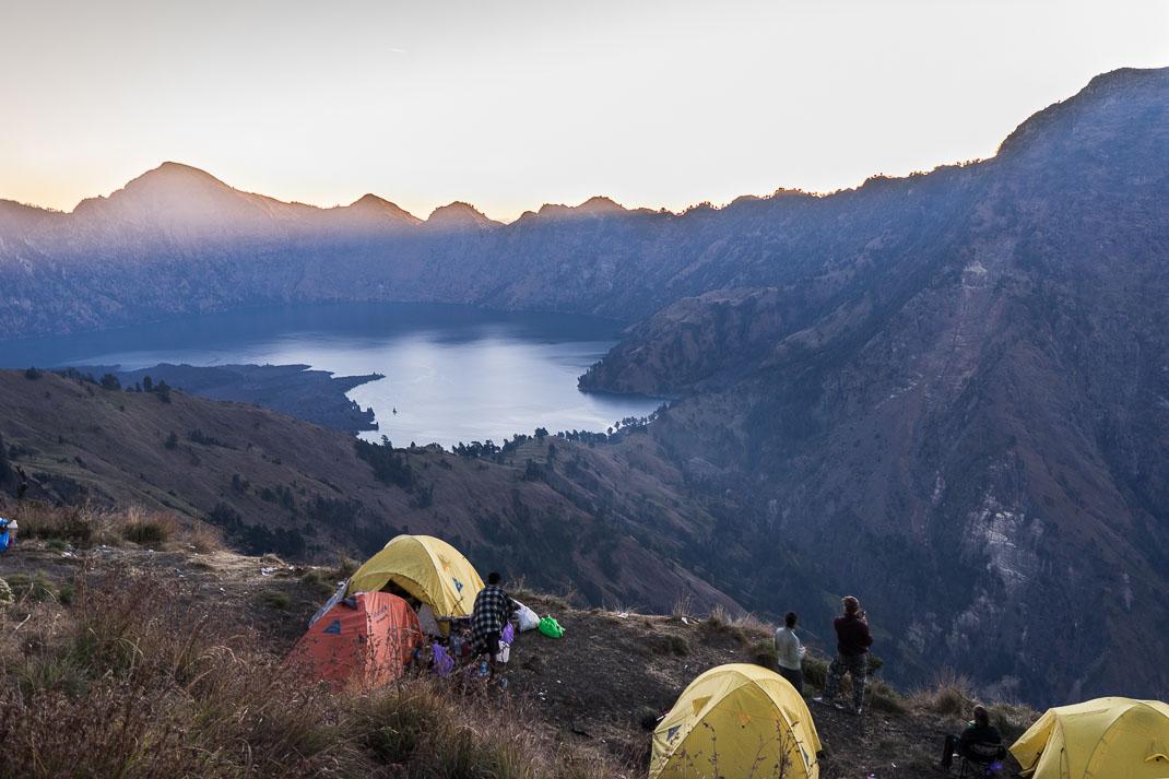 Summiting Rinjani Tents Sunset