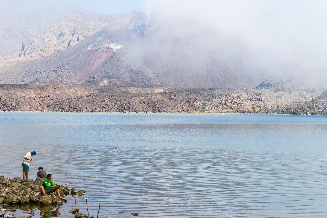 Summiting Rinjani Lake Fishermen