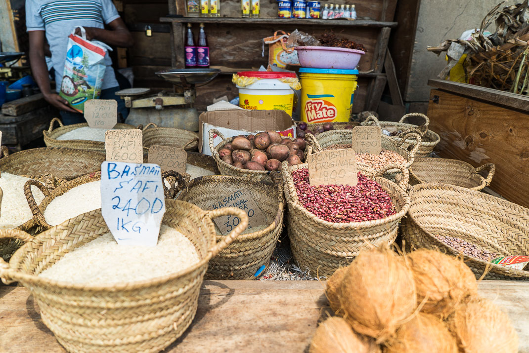 Stone town Outdoor market grains
