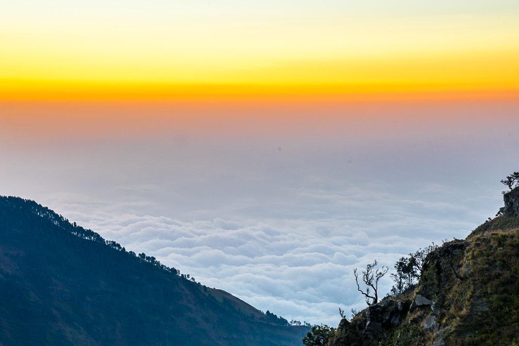 Summiting Rinjani Clouds Sunrise