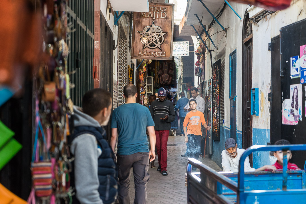 Crowded Tangier Medina Antiques