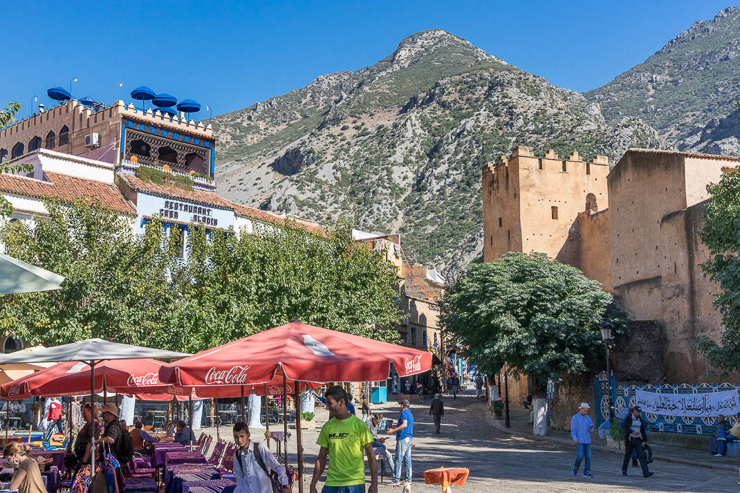 Chefchaouen Town Square Mountains