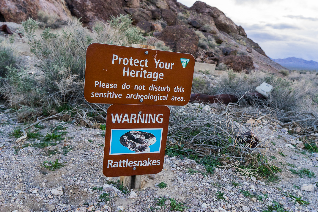 Rhyolite Ghost Town Rattlesnake Sign