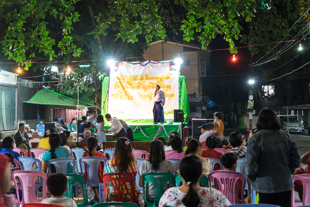 Burmese Independence Day Night Crowd