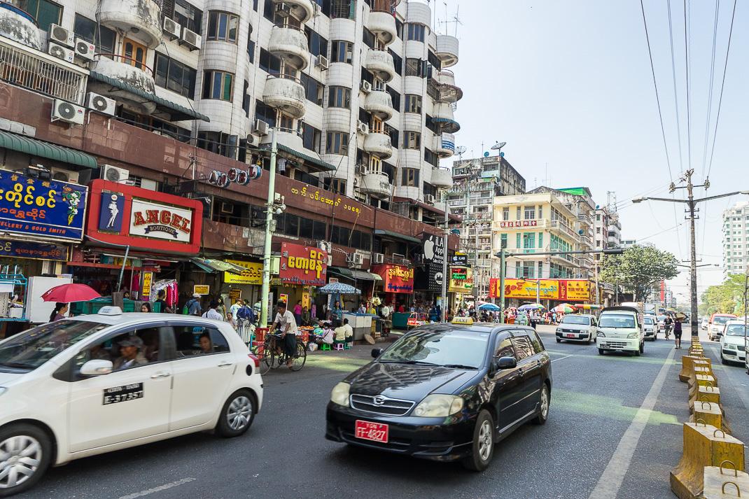 Yangon Street Downtown Traffic