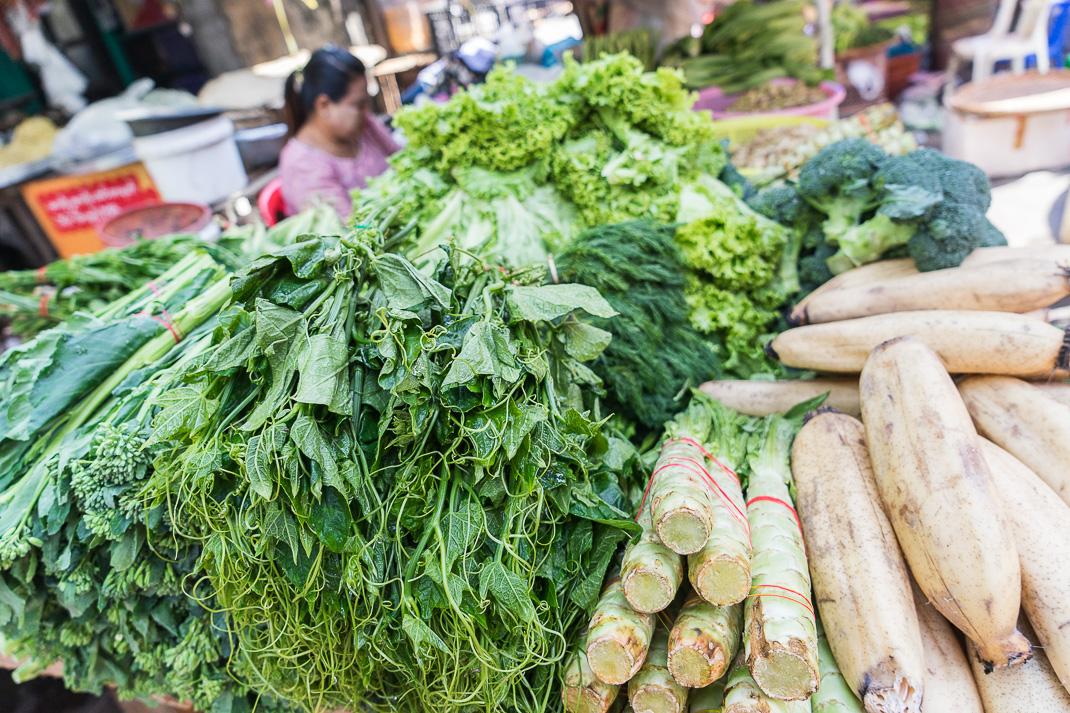 Yangon Street Market Vegetables