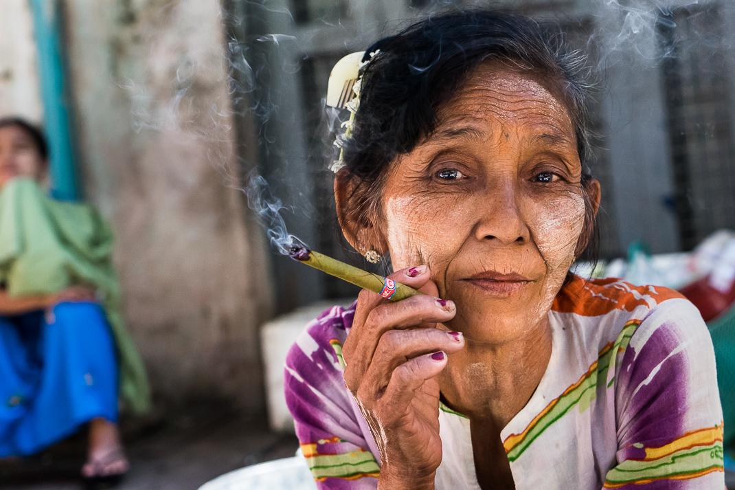 Yangon Old Woman Smoking