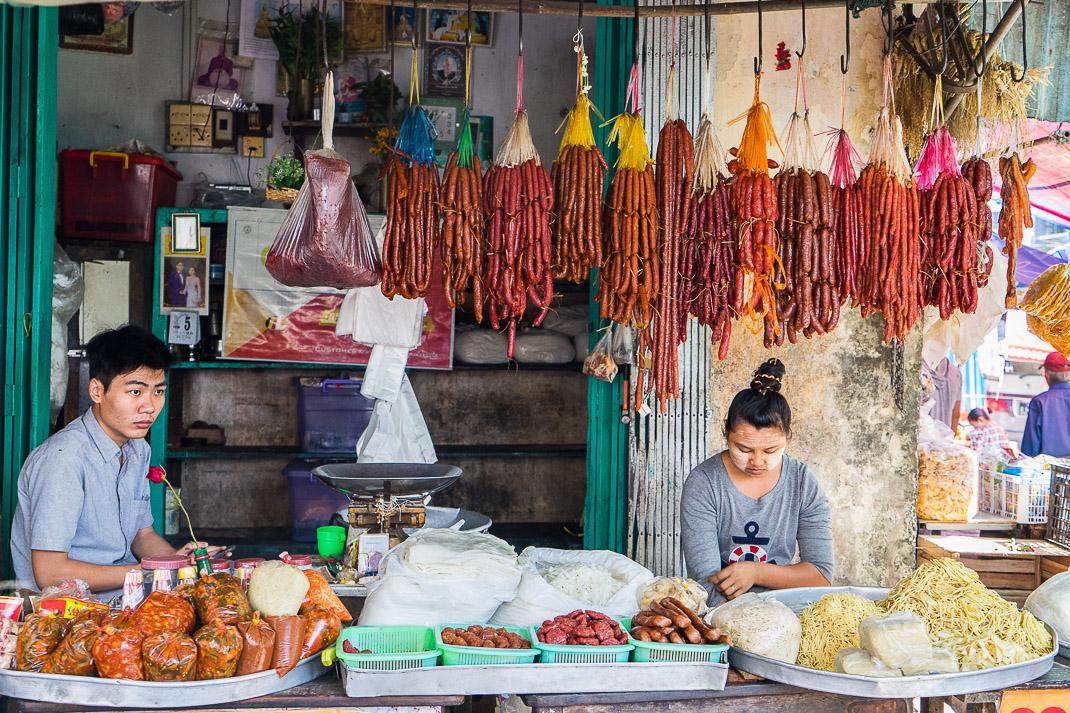 Yangon Street Market Sausages Noodles