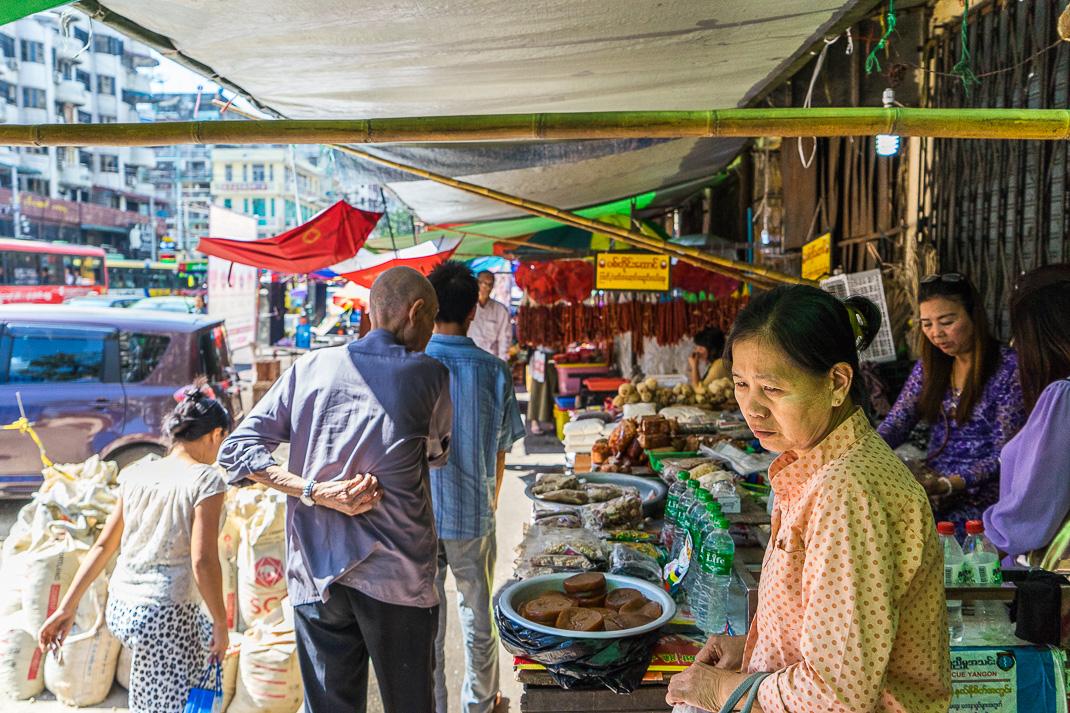 Yangon Crowded Street Market