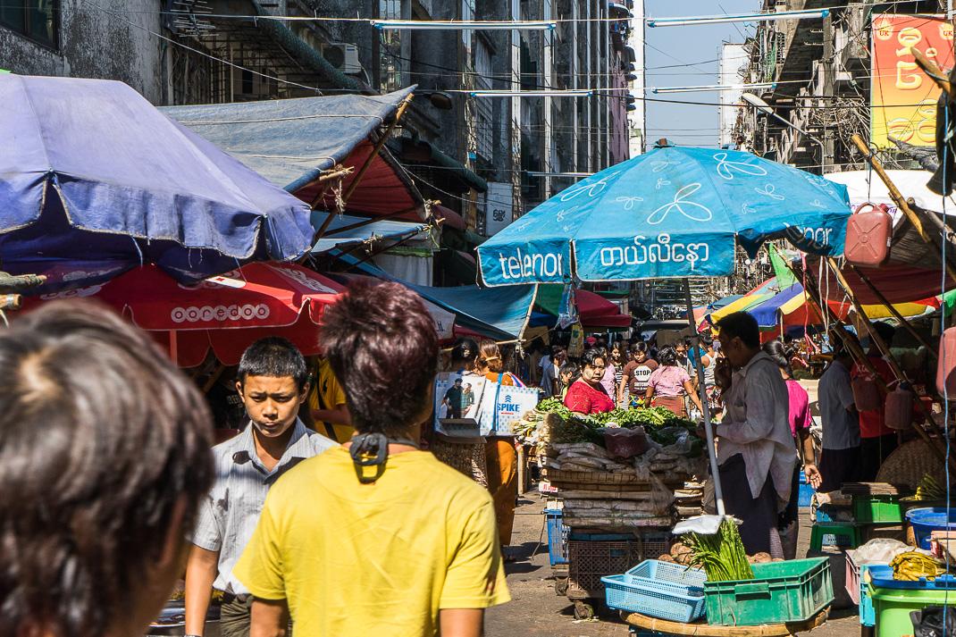 Yangon Street Markets Crowd