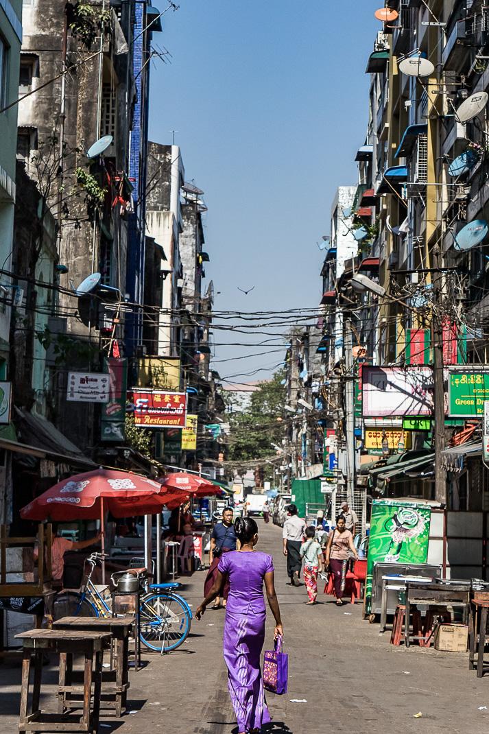 Yangon Street Markets Woman Walking