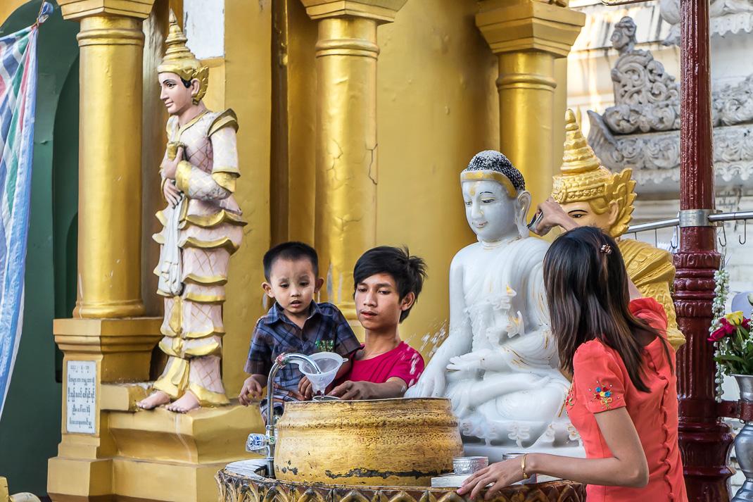 Yangon Temples Shwedagon Water Blessing