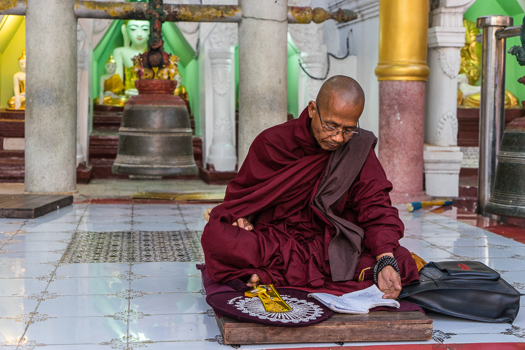 Yangon Temples Shwedagon Monk Reading