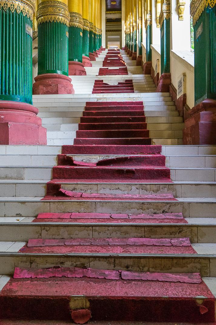 Yangon Temples Shwedagon Carpet Stairway